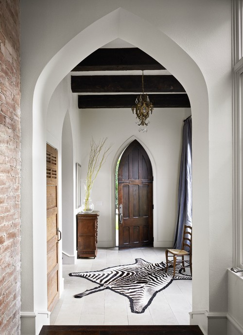 A Gothic-inspired entrance that features pointed archways