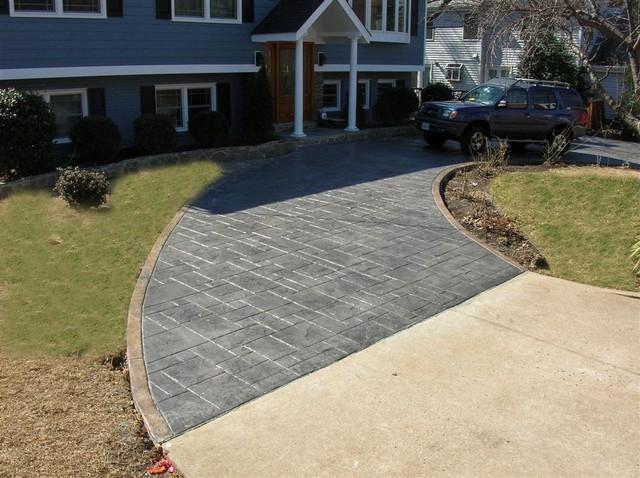 Stamped Concrete Driveway Ashlar Slate Pattern Sun Gray