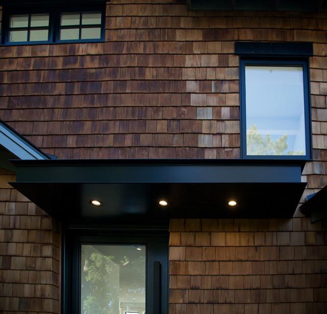 Bon Steel Entry Pivot Door And Steel Awning   Yuhl Residence Modern Entry