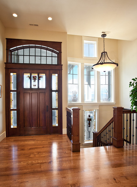 Interior entry way front door stair case railing for Basement entry