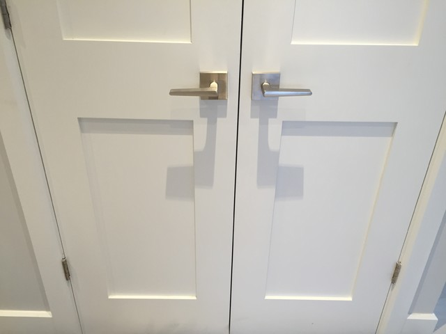 St Phanie Fortier Design Square Brushed Nickel Door Handles Transitional Entry Other