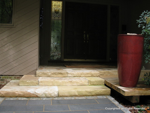 Stone Walkway and Entry - Cary, NC contemporary-entry