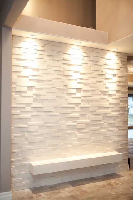 Stone Wall Covering Modern Entry