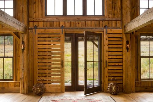 Entry slatted barn doors