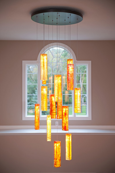 Tanzania Custom Fused Glass Chandelier Entry Way Light