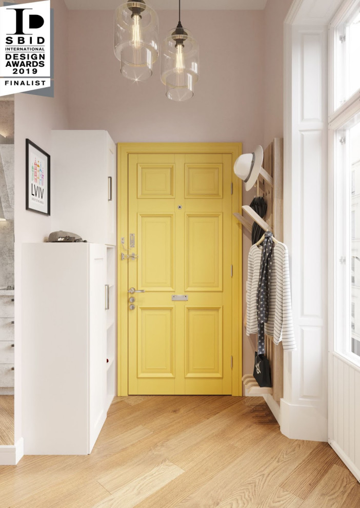 Small minimalist porcelain floor and brown floor entryway photo in Boston with purple walls and a yellow front door