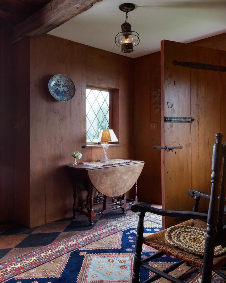 Entryway - cottage entryway idea in Boston with a dark wood front door