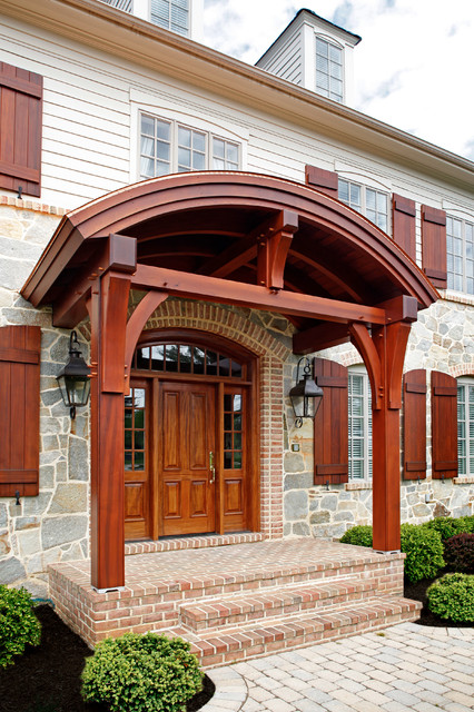 Timber Frame Entry Way In Clear Cedar