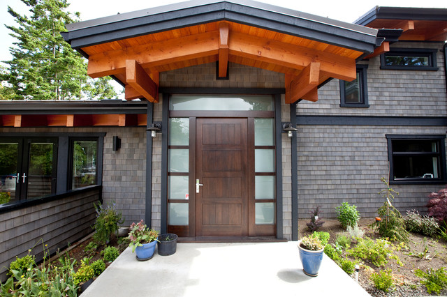 Timber Frame Entry With Custom Door Contemporary Entry