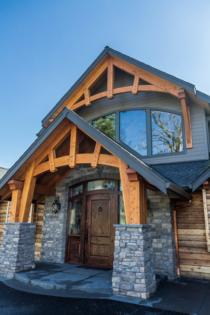 Timber Framed Entryways Showcase - craftsman - entry - portland