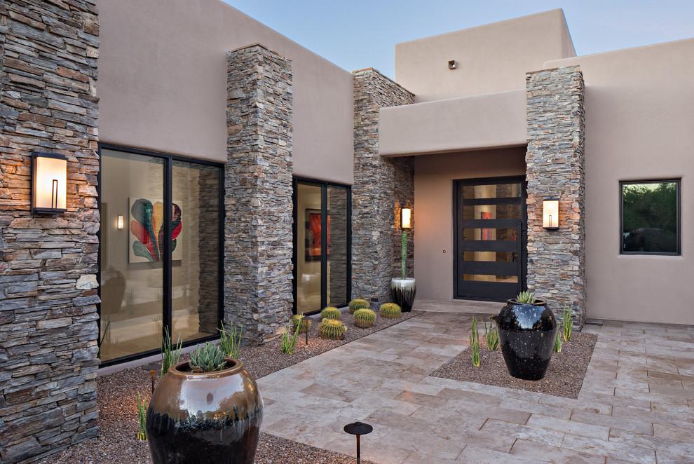 Entryway - contemporary entryway idea in Phoenix with a glass front door