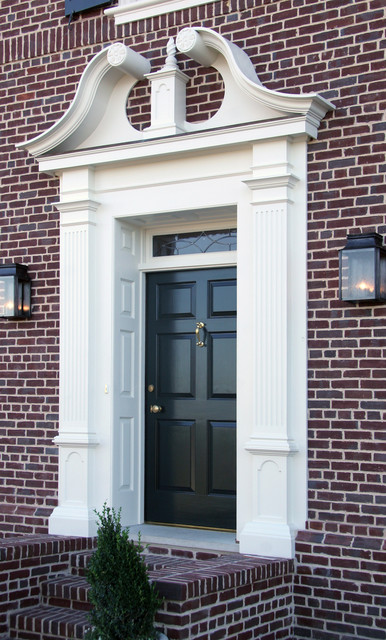 Traditional american door surround traditional entry for Exterior door pediment and pilasters