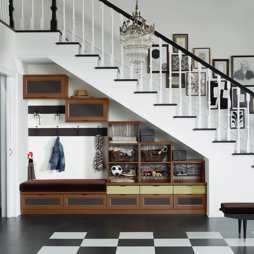 Elegant mudroom photo in San Francisco with white walls