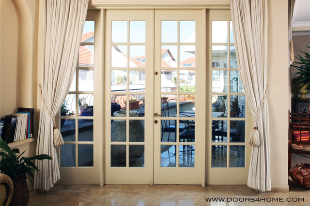 Traditional entry for French doors without windows