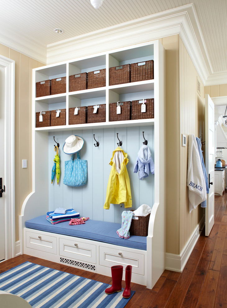 Inspiration for a beach style mudroom remodel in Other