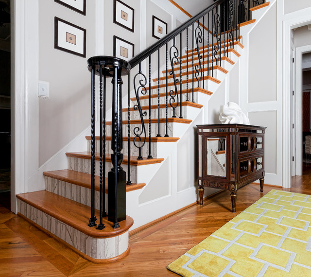 Transitional Foyer Hallway: Transitional Foyer And Stairs