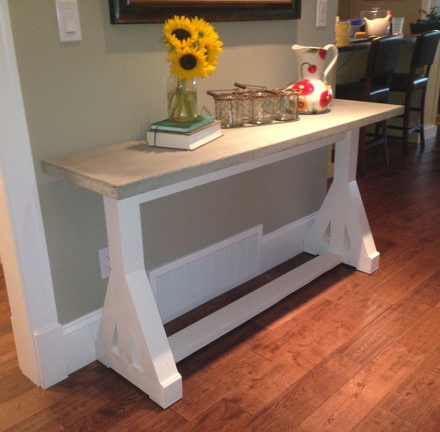 trestle consolesofaentry table with concrete top farmhouse entry - Entry Table