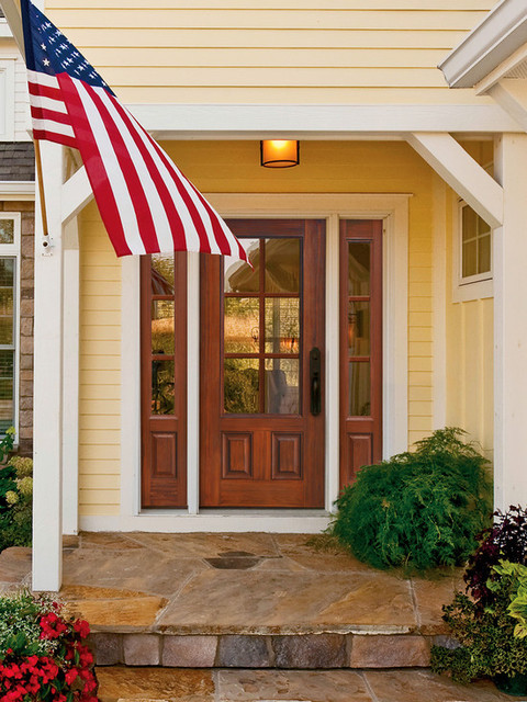 2 panel 6 lite fiberglass exterior front door with for Front door with 6 windows