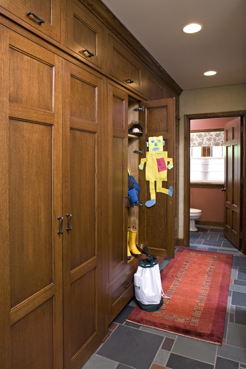 mudroom organization can be open or behind closed doors