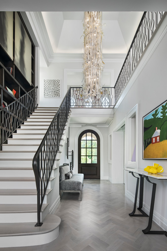 Inspiration for a transitional entryway remodel in Detroit