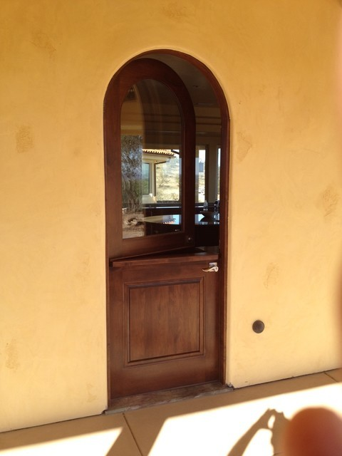 Tuscan Doors - Custom Radius Top Dutch Door Solid Wood Stained Dark mediterranean-entry & Tuscan Doors - Custom Radius Top Dutch Door Solid Wood Stained Dark ...