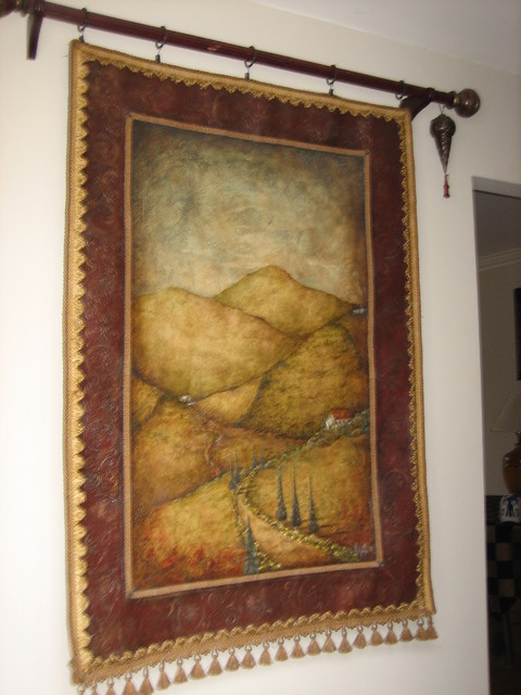 tuscan painted canvas wallhanging mediterranean-entry