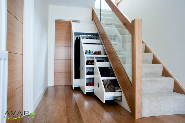 Under Stairs Storage Modern Entrance London By