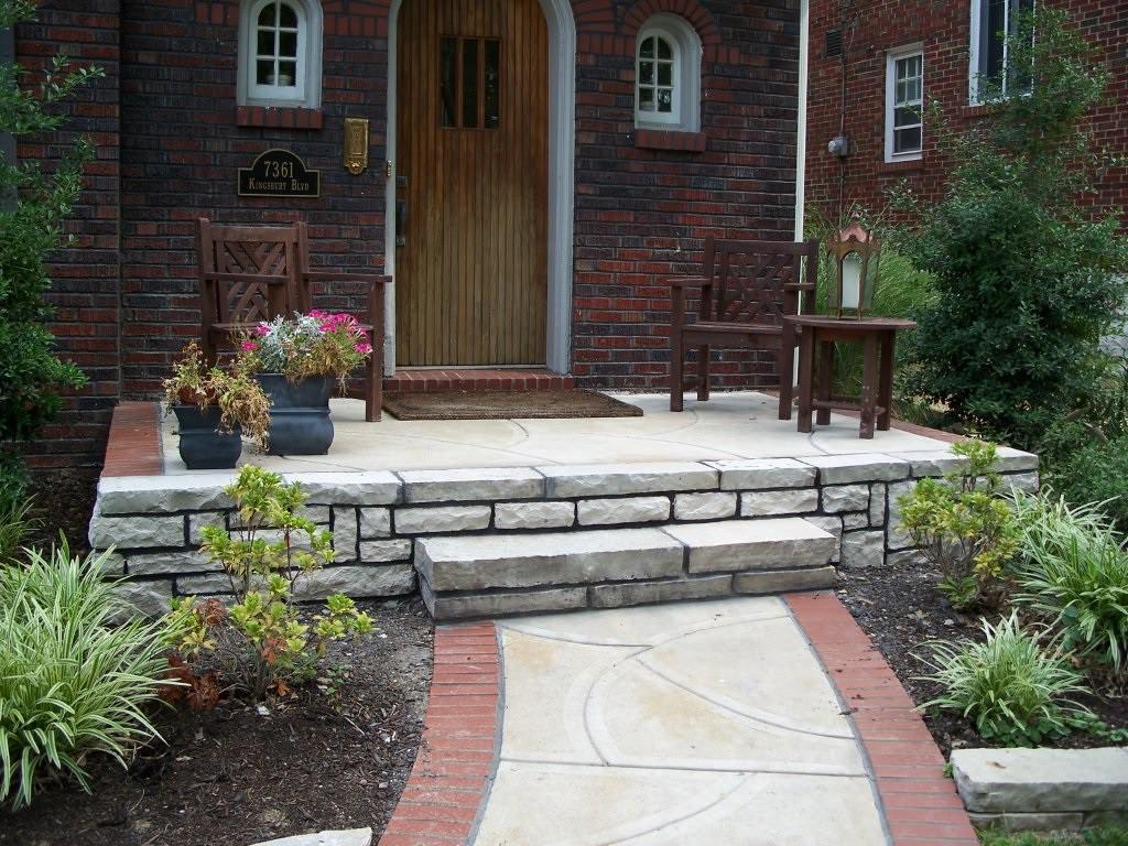 University City, Missouri brick and stone masonry walkway and porch