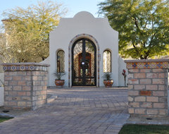 Updated entry w/decorative tile mediterranean-entry