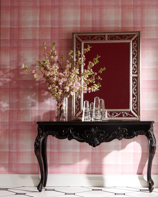 Immagine di un corridoio bohémian di medie dimensioni con pareti rosa, pavimento con piastrelle in ceramica e pavimento bianco