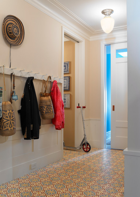 Transitional ceramic floor and multicolored floor entryway photo in New York