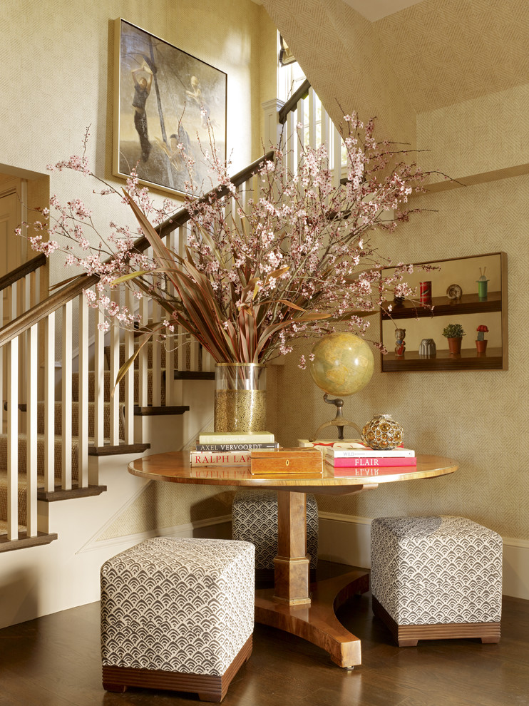 Inspiration for a contemporary foyer remodel in San Francisco with beige walls