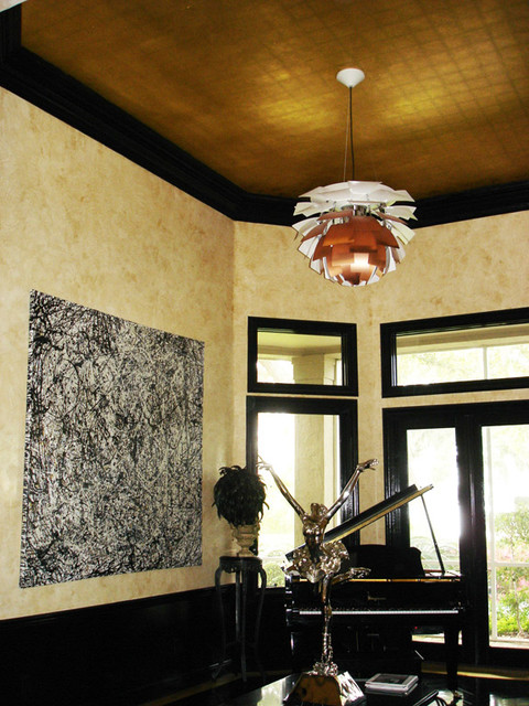 Venetian Plaster with Glossy Black Trim and Gold Leaf Ceiling modern-entry