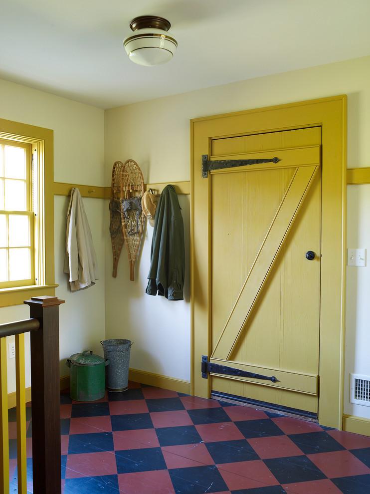 Single front door - country single front door idea in New York with a yellow front door