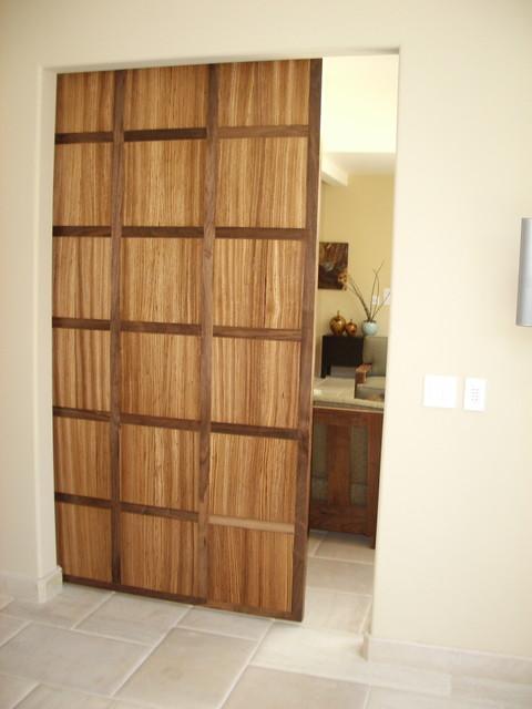 Walnut and zebra wood hanging door contemporary - Modern interior doors los angeles ...