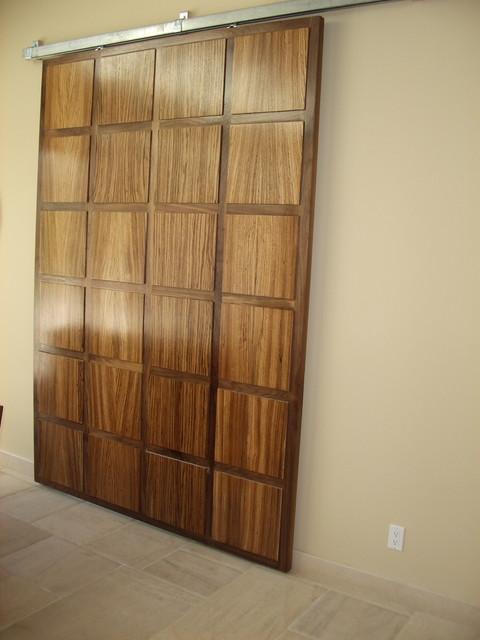Walnut and zebra wood hanging door contemporary entry - Modern interior doors los angeles ...