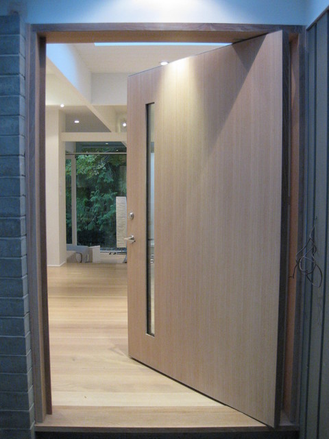 White oak front door contemporary entry vancouver Modern white front door