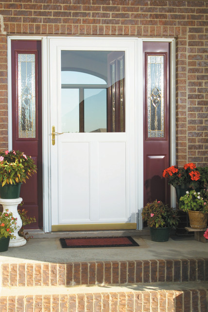 White Screen Away® Storm Door Transitional Entry