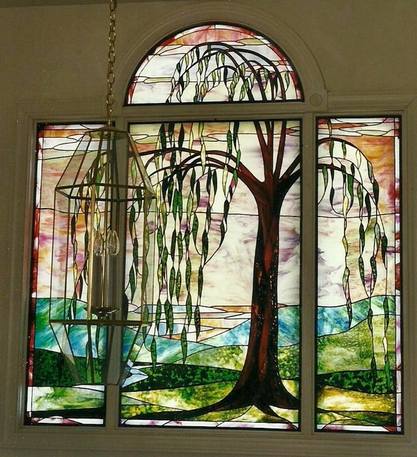 Willow tree stained glass entranceway eclectic entry other by