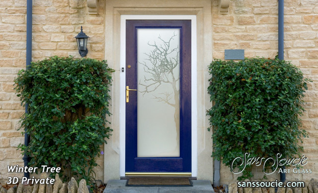 Winter tree 3d glass front doors exterior glass doors for Outside doors with glass