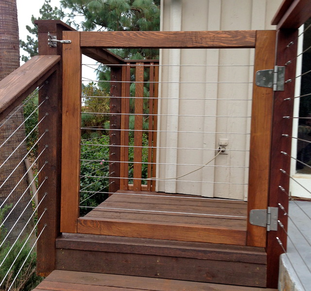 Wood Framed Cable Gate Modern Entry San Diego By