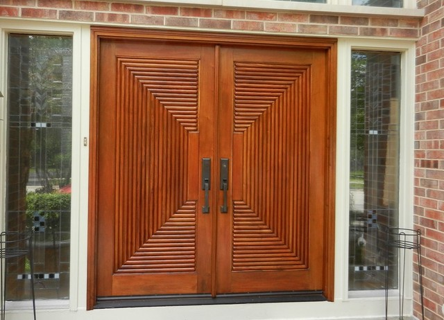 Wood Front Door Refinishing Contemporary Entry Chicago By Painting In Partnership Inc