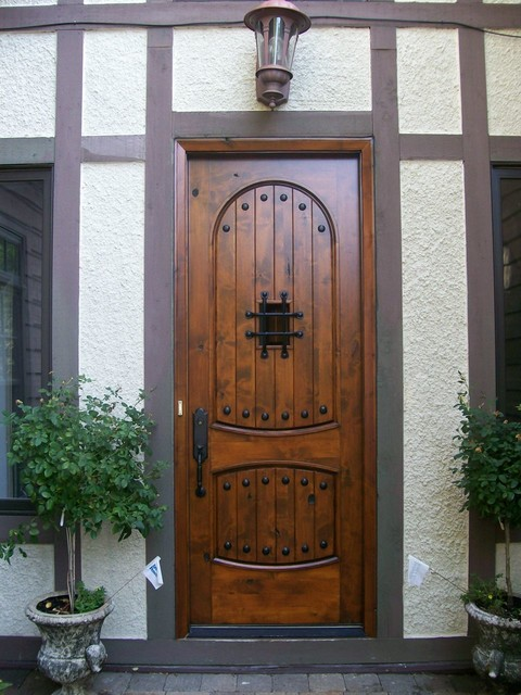 Wood Front Door Refinishing traditional entry