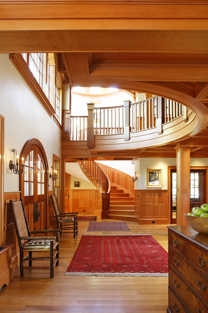 Woodland Point Entry Hall and Staircase rustic-entry