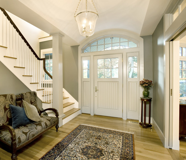 Forest view residence entry hall traditional entry for Foyer paint color decorating ideas
