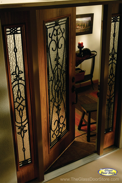 Wrought Iron Glass Front Entry Doors Mediterranean