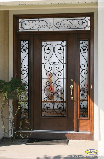 Wrought iron glass front entry doors mediterranean for Glass for front door