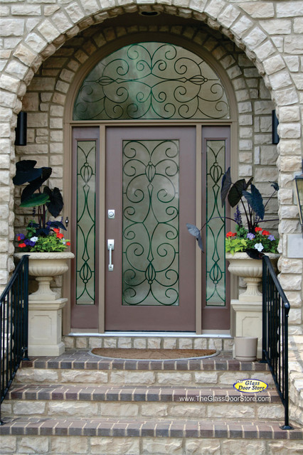Delicieux Wrought Iron Glass Front Entry Doors Mediterranean Entry