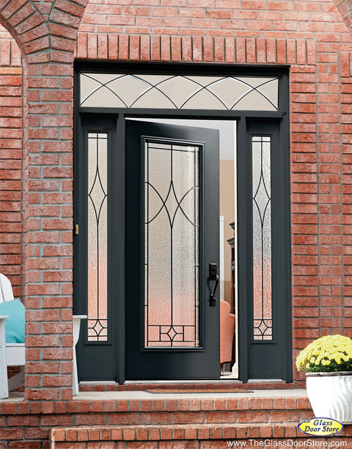 Wrought iron glass front entry doors mediterranean for White front door with glass