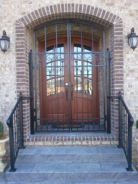 Wrought Iron Security Door And Hand Rails Traditional